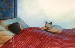 JOHNSON AND FANCHER - IN BED WITH CAT - MIXED MEDIA - 18 X 11.5