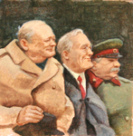 JOHNSON AND FANCHER - WITH CHURCHILL & STALIN - MIXED MEDIA - 5 x 5