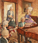 JOHNSON AND FANCHER - SINGING AT PIANO - MIXED MEDIA ON CANVAS - 13 X 15.5