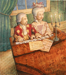 JOHNSON AND FANCHER - MOZART & MARIA AT PIANO - MIXED MEDIA ON CANVAS - 13 X 15.5