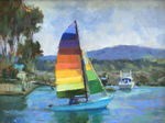 STEVE KELL - COOL SAILING - OIL ON BOARD - 12 X 9