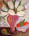 JOYCE LIEBERMAN - WHITE TULIPS - ACRYLIC ON PAPER - 15 X 18