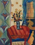 JOYCE LIEBERMAN - FIESTA: BLOOMING ROOM - ACRYLIC ON PAPER - 15 X 18