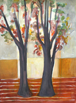 JOYCE LIEBERMAN - SVELT TREES #12 - ACRYLIC ON PAPER - 22 X 30