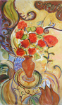JOYCE LIEBERMAN - PATIO ROSES - ACRYLIC ON CANVAS - 24 X 48
