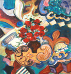 JOYCE LIEBERMAN - FIESTA: ROSES IN ORBIT - ACRYLIC ON PAPER - 15 X 18