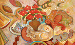 JOYCE LIEBERMAN - POSEY PARTY UNSTILL LIFE - ACRYLIC ON CANVAS - 48 X 36