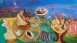 JOYCE LIEBERMAN - PICNIC - ACRYLIC ON CANVAS - 67 X 38