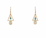 LINA - MOONSTONE & APATITE EARRINGS - GOLD AND GEMSTONE