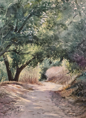 JASON LI - TRAIL V - WATERCOLOR - 12 x 9