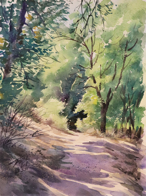 JASON LI - TRAIL VI - WATERCOLOR - 12 x 9
