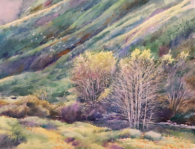 JASON LI - BLOOMING HILLS - WATERCOLOR - 14 X 11