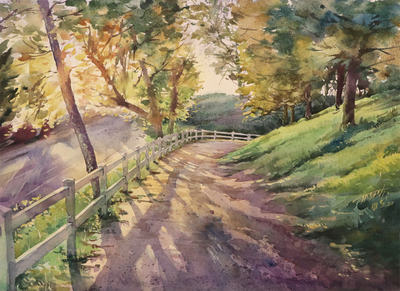JASON LI - SUNSET TRAIL - WATERCOLOR - 16 X 11.25