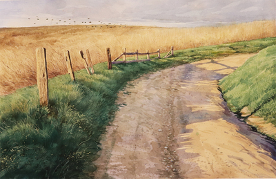 JASON LI - SPRING HILLS - WATERCOLOR - 18 X 12