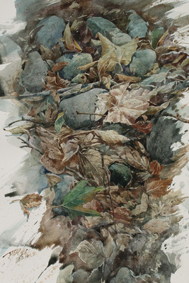"JASON LI - DRY CREEK 1 - WATERCOLOR - 11.5"" X 17.5"""
