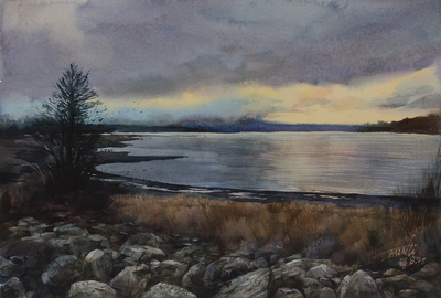 "JASON LI - SUNSET LAKE - WATERCOLOR - 10.75"" X 16"""