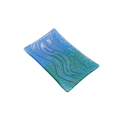 LYNLEIGH LOVE - BLUE SOAP DISH WITH WAVE IN RELIEF PATTERN - GLASS - 6 X 3.75 X 2