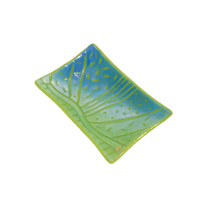 LYNLEIGH LOVE - BLUE & GREEN SOAP DISH WITH GEOMETRIC IN RELIEF PATTERN - GLASS - 6 X 3.75 X 2