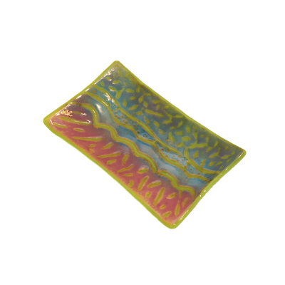 LYNLEIGH LOVE - GREEN, BLUE & PINK SOAP DISH WITH WAVE IN RELIEF PATTERN - GLASS - 6 X 3.75 X 2