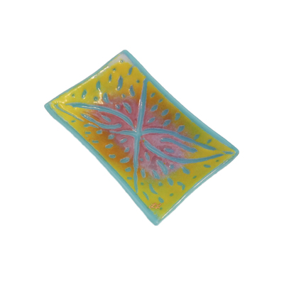 LYNLEIGH LOVE - BLUE, YELLOW & PINK SOAP DISH WITH BSTRACT IN RELIEF PATTERN - GLASS - 6 X 3.75 X 2