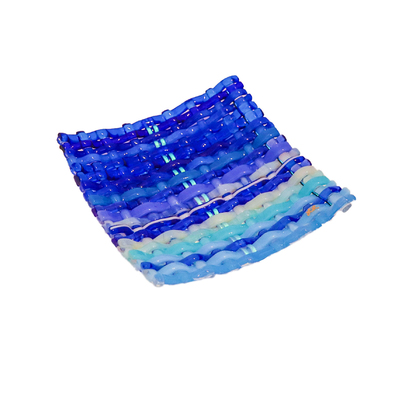LYNLEIGH LOVE - SQUARE BLUE WOVEN GLASS PLATTER WITH TWO LUMINESCENT STRIPES - GLASS - 6 X 6 X 2