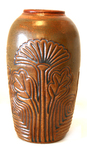 CONNIE MAJOR - CARVED VASE, LEAF PATTERN - CERAMIC - 5 X 9 X 5
