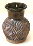 CONNIE MAJOR - CARVED VASE - GEOMETRIC - CERAMIC - 3.5 X 4.5 X 3.5