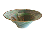 CAROLYN MEANS - LARGE GREEN & PURPLE BOWL - CERAMIC - 12.75 X 4.5 X 12.75