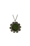 J.C. MILNER - FLOWER PENDANT W/ PAINTED GREEN & BLACK CENTER - STERLING