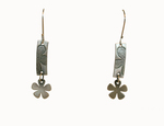 J.C. MILNER - PRESSED FLOWER ON STERLING SILVER RECTANGLE WITH FLOWERS EARRINGS - SILVER