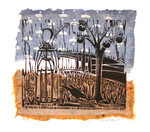 LISA MERTINS - PERSIMMON TREE VARIATION - MIXED MEDIA ON PAPER - 5.5 X 5