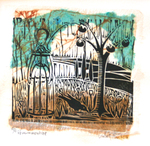 LISA MERTINS - PERSIMMON TREE - MIXED MEDIA ON PAPER - 5 x 5