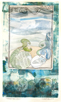 LISA MERTINS - MERMAID MEA CULPA - MIXED MEDIA ON PAPER - 7 X 11.5