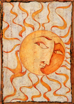 LISA MERTINS - SUN - MIXED MEDIA ON BOARD - 6.5 X 8.5