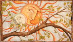 LISA MERTINS - SUN & MOON - MIXED MEDIA ON BOARD - 14.5 X 8.25