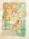 LISA MERTINS - WARM RABBIT - MIXED MEDIA ON PAPER - 7 X 10