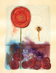 LISA MERTINS - SMALL BEE - MIXED MEDIA ON PAPER - 7.25 X 10