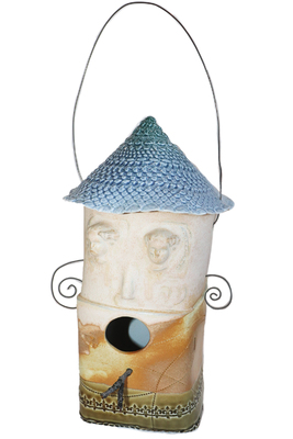 LISA MERTINS - BIRDHOUSE - LIGHT BLUE TOP W/ FACE & WIRE ARMS - CERAMIC - 4.25 X 10.5 X 4.25