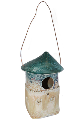 LISA MERTINS -  BIRDHOUSE W/ DARK TEAL TOP, SMALL DECORATIVE HOLES - CERAMIC - 4 X 7.5 X 3.5