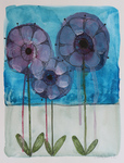 LISA MERTINS - PURPLE FLOWERS - MIXED MEDIA ON PAPER - 8 x 10