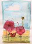 LISA MERTINS - BUTTERFLY & BEE - MIXED MEDIA ON PAPER - 10.25 X 15