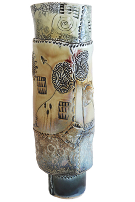 LISA MERTINS - TALL VASE W/ SUNFLOWER, BEES, HEARTS & FLOWERS - CERAMIC - 5 X 15 X 4.5