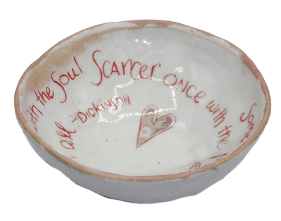 "LISA MERTINS - ""SOMETIMES WITH THE HEART""TRINKET DISH - CERAMIC - 3 1/2 X 3 1/2 X 1"