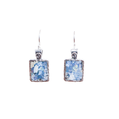 SAPHARIM RAHAV - RECT ROMAN GLASS & STERLING EARRING - STERLING