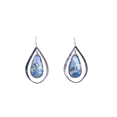 SAPHARIM RAHAV - LG DOUBLE TEAR DROP ROMAN GLASS & STERLING EARRINGS - STERLING