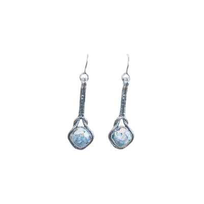 SAPHARIM RAHAV - LONG KNOT ROMAN GLASS & STERLING EARRINGS - STERLING