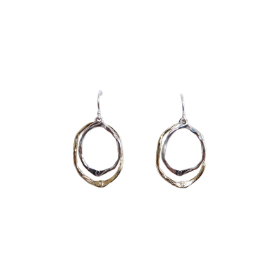 SAPHARIM RAHAV - DOUBLE HOOP GOLD & SILVER EARRINGS - SILVER & GOLD
