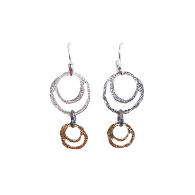 SAPHARIM RAHAV - DOUBLE CIRCLE GOLD & SILVER DANGLE EARRING - SILVER & GOLD