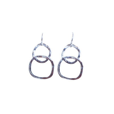 SAPHARIM RAHAV - DOUBLE CIRCLE STERLING DANGLE EARRING - STERLING