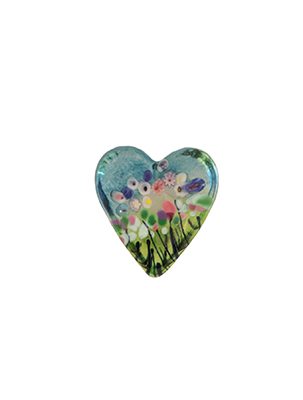 ROBERT HELD - SMALL WILDFLOWER HEART, GREEN - GLASS
